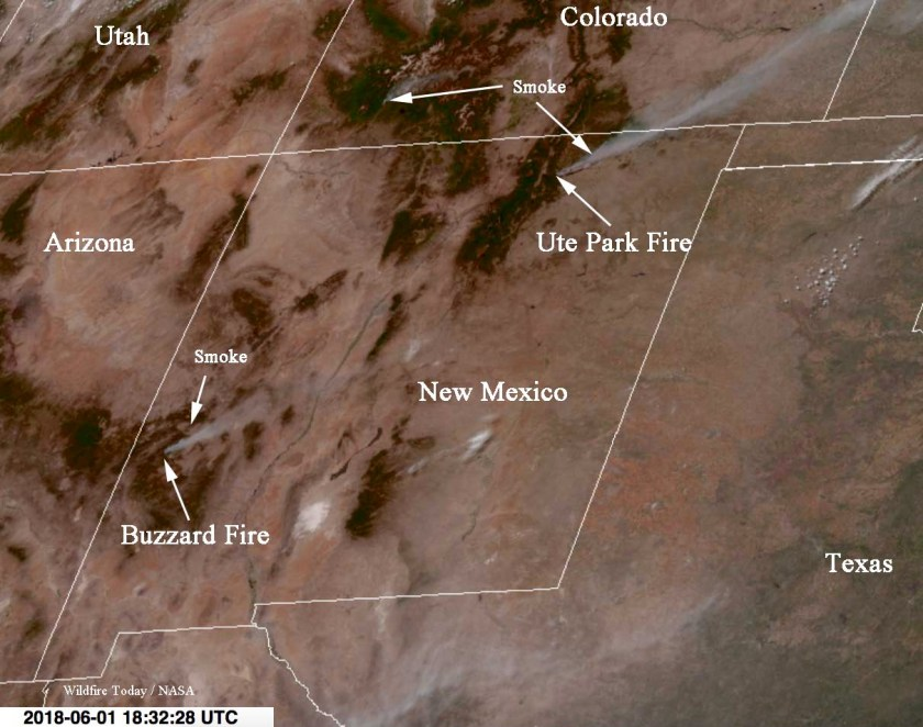 Satellite photo smoke fires New Mexico Colorado