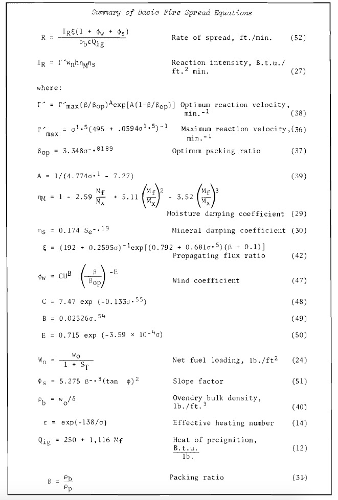Summary equations Rothermel's 1972 paper fire model