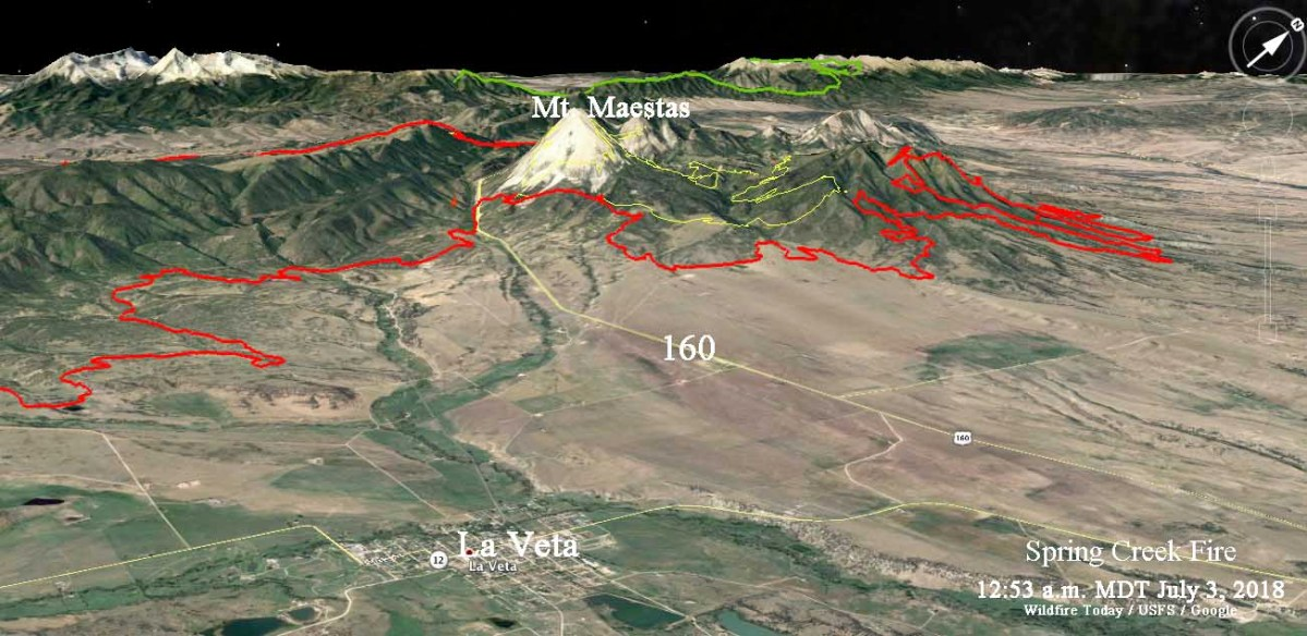 Maps of Spring Creek Fire, July 3, 2018