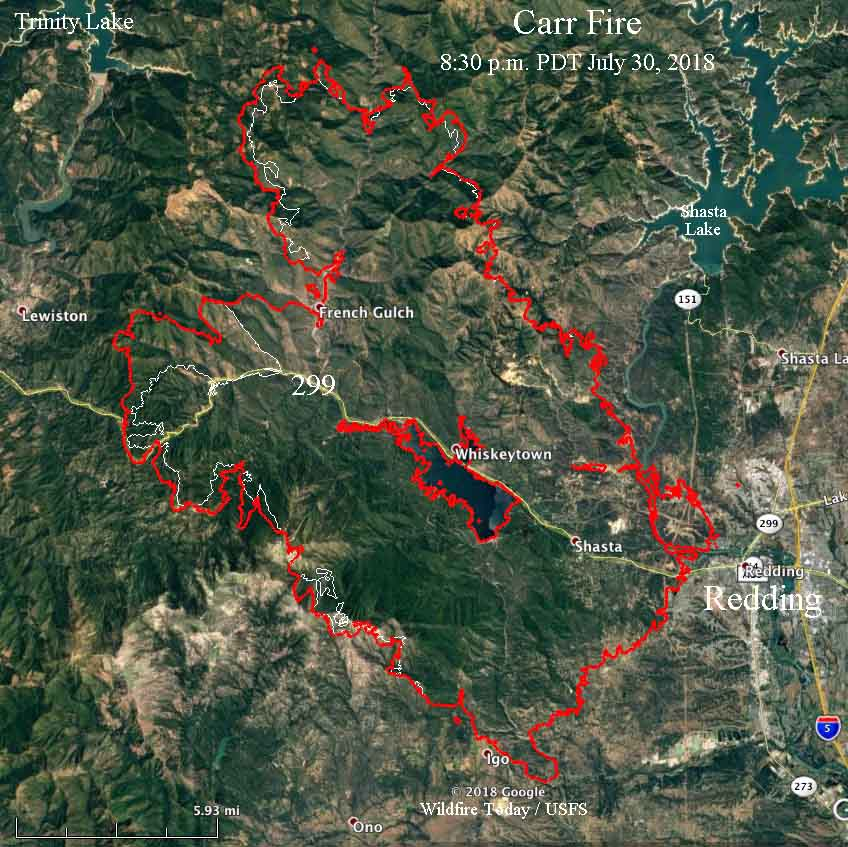 Carr Fire Threat To Lewiston Increases Redding Area Improves