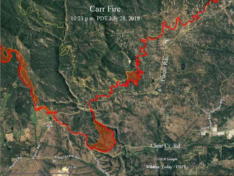 map Carr Fire Igo Carr Fire still