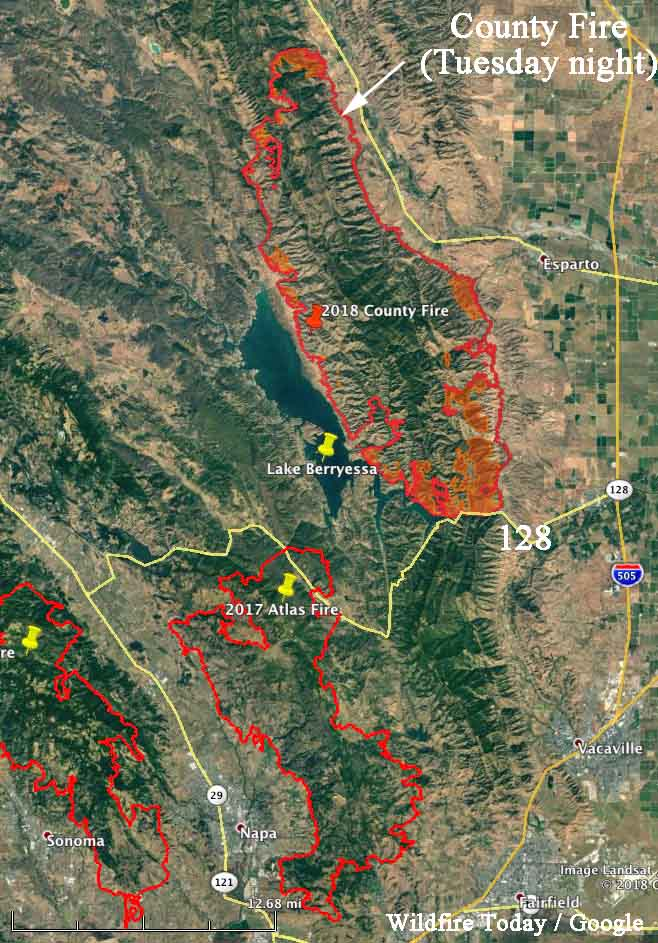 Lake Berryessa Fire Map.Firefighters Hope To Prevent The County Fire From Crossing Hwy 128