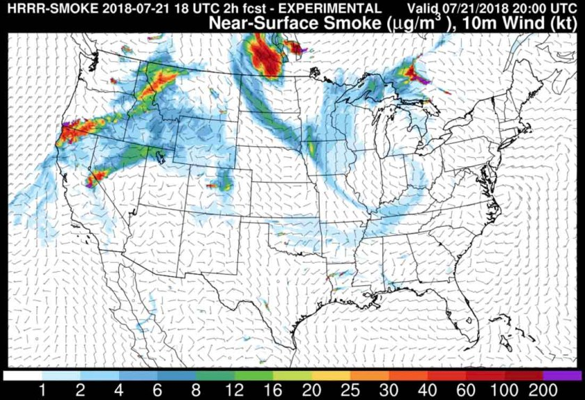 wildfire smoke forecast july 21 2018
