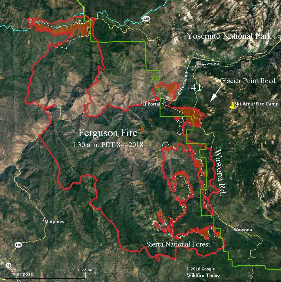 Fire Map Yosemite.Ferguson Fire Spreads Across Highway 41 Moves Deeper Into Yosemite