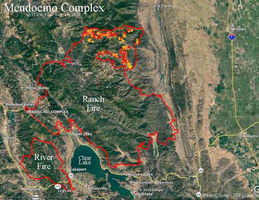Mendocino Complex fire Ranch California map