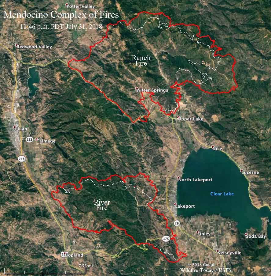 FIRE MAP: Mendocino Complex Fire as of Thursday morning