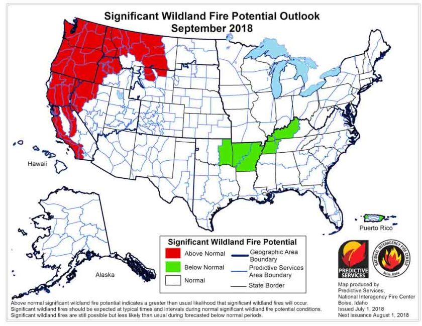 September 2018 wildfire potential