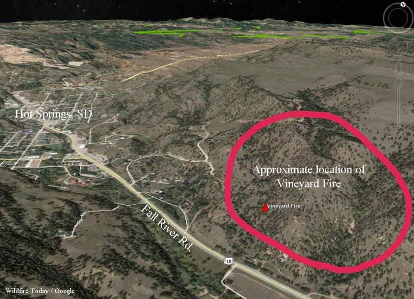 map Vineyard Fire hot springs south dakota