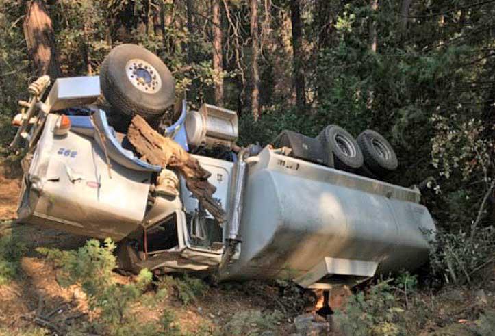 water tender rollover Ferguson Fire California