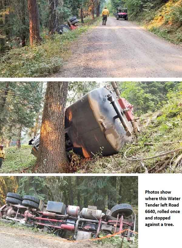 water tender rollover Miles Fire Oregon