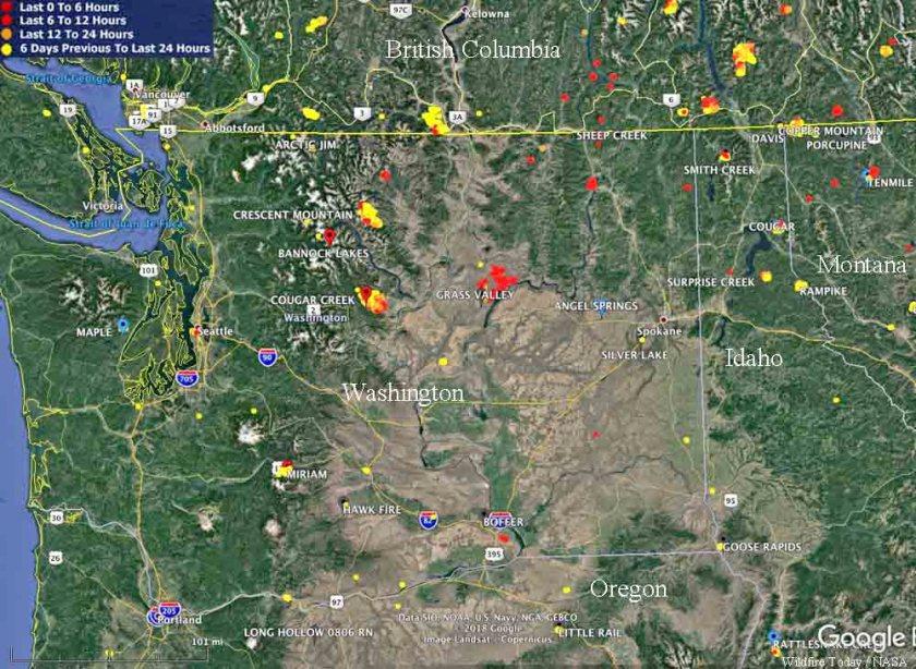 map large wildfires Washington