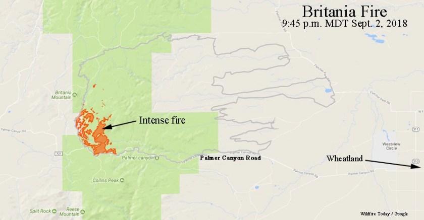 map Britania Mountain Fire Wyoming