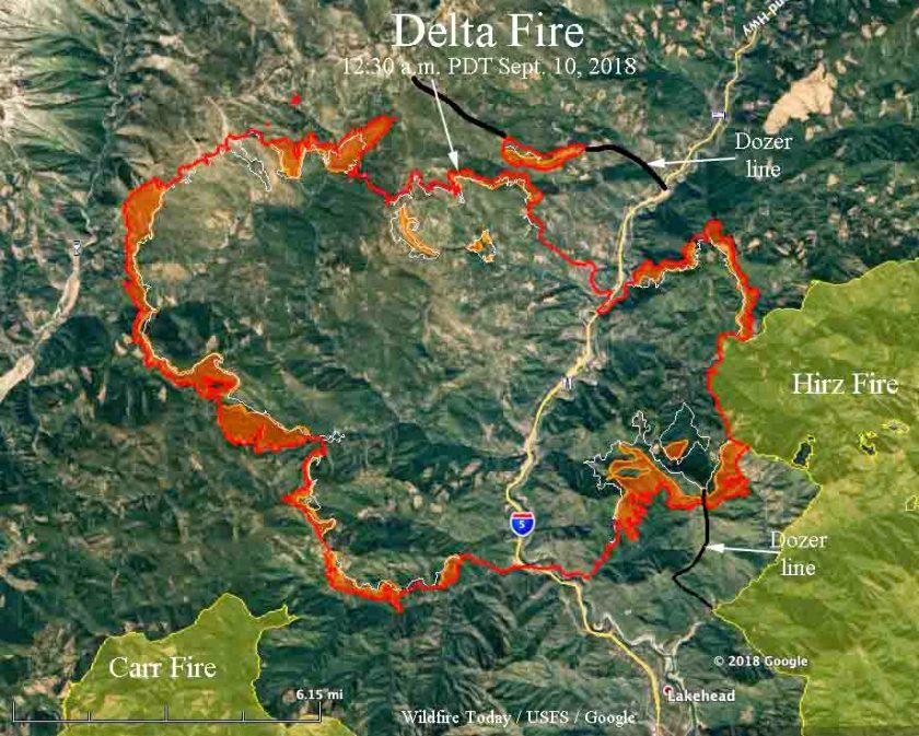 map Delta Fire California Interstate 5