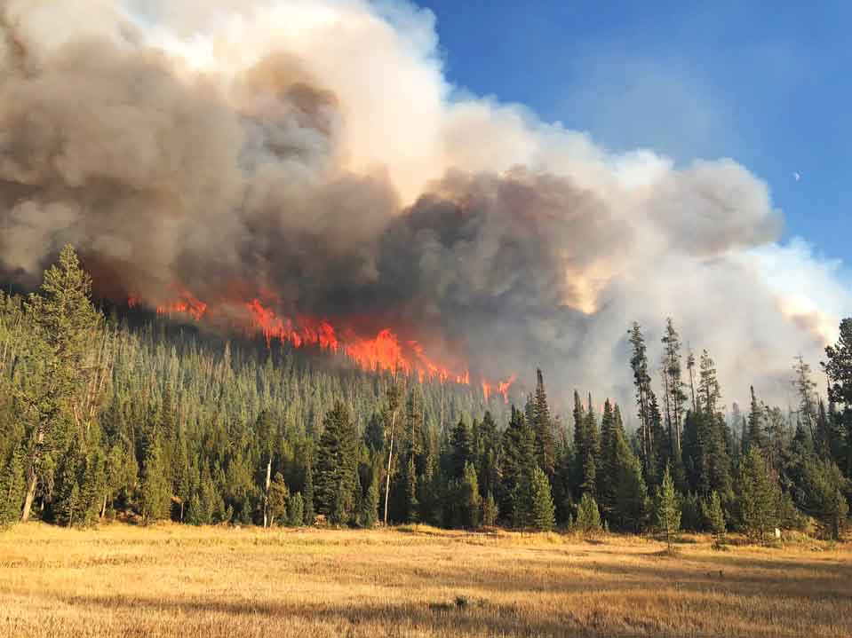Two fires south of Jackson, Wyoming spreading rapidly at high elevation
