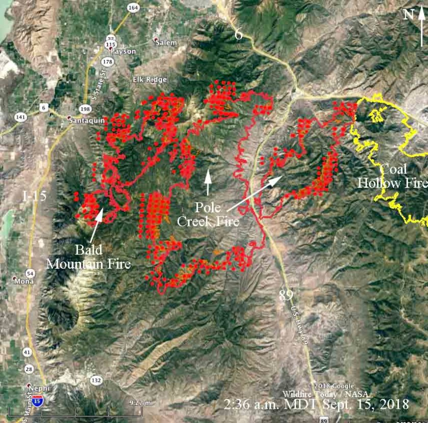 map Bald Mountain, Pole Creek, and Coal Hollow Fires