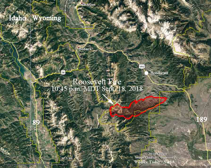 Bondurant Wyoming Map.Two Fires South Of Jackson Wyoming Spreading Rapidly At High