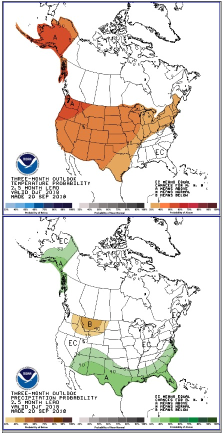 three-month temperature and precipitation forecast