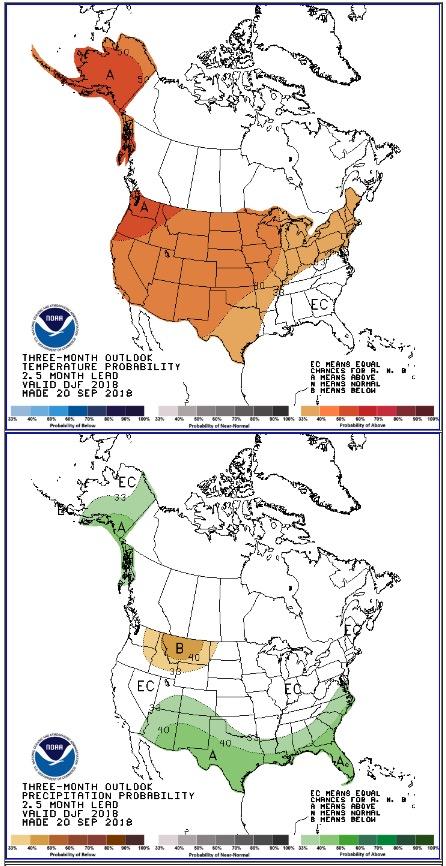 three-month temperature and precipitation forecast