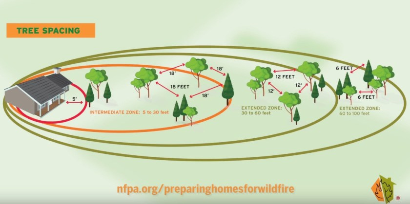 wildfire risk home tree spacing