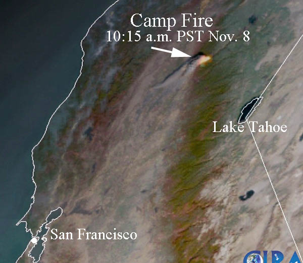 Satellite photo Camp Fire
