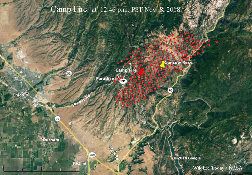 Wildfire burns into Paradise California forcing evacuations
