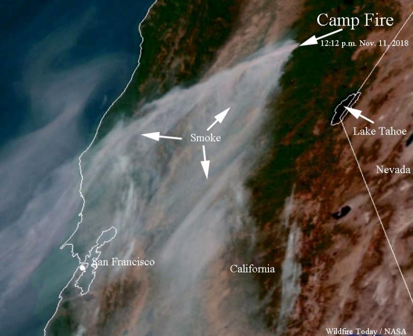 Satellite photo smoke Camp Fire Paradise California