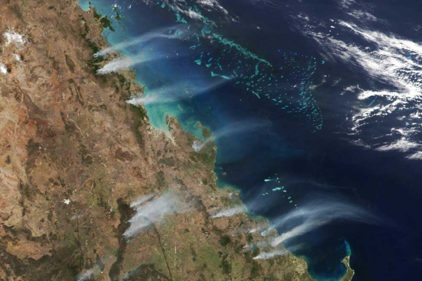 Fires Queensland satellite photo