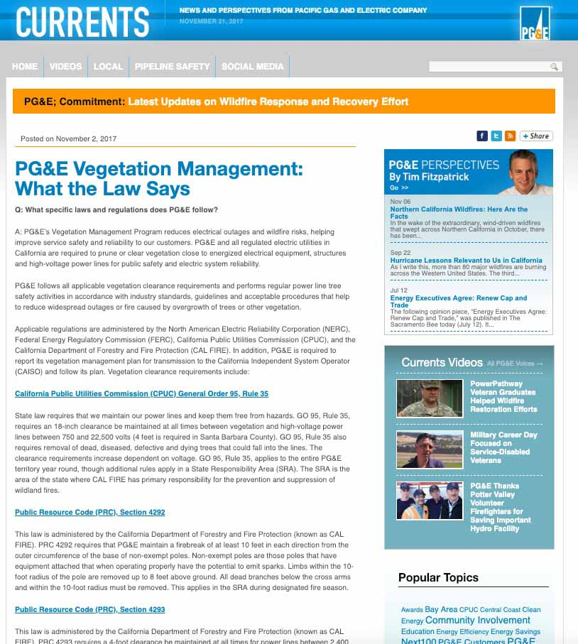 "November 2, 2017 edition of PG&E's ""Currents"""