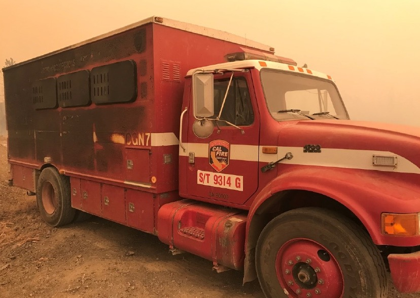 fire wildfires crew carrier damaged burned injuries