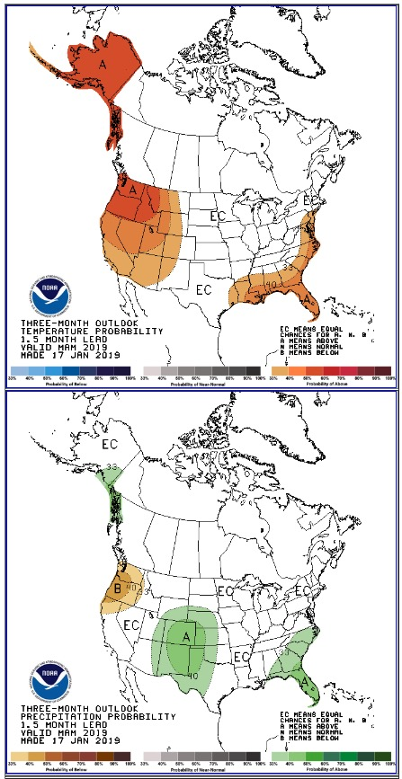 90 day Outlook temperature precipitation