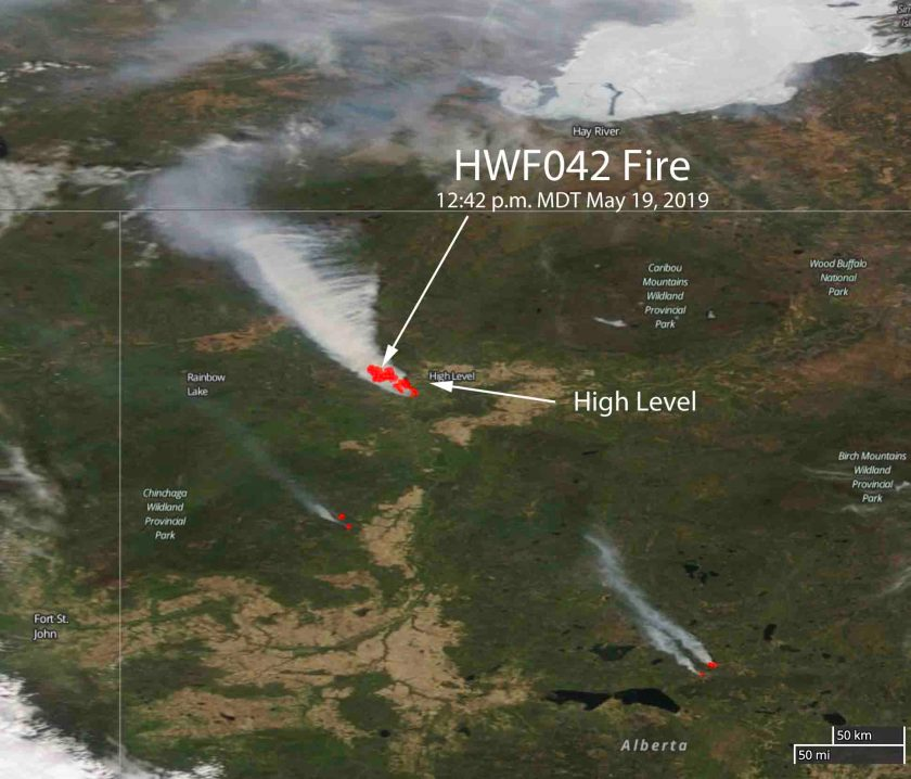 Satellite photo wildfire High Level, Alberta