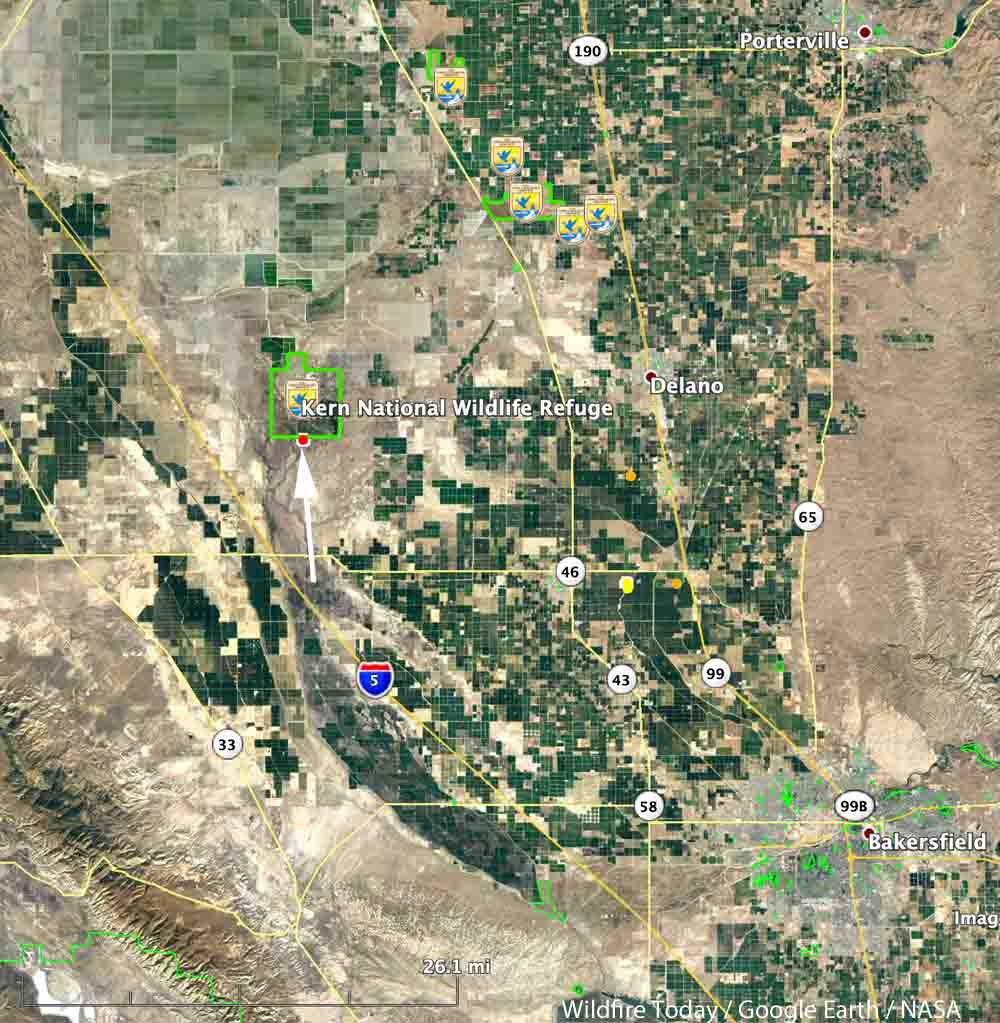 Refuge Fire burns 2,500 acres in Kern County, California - Wildfire on map of tehachapi mountains, map of san gabriel mountains, map of sierra madre mountains, map of los gatos mountains, map of southern california mountains,