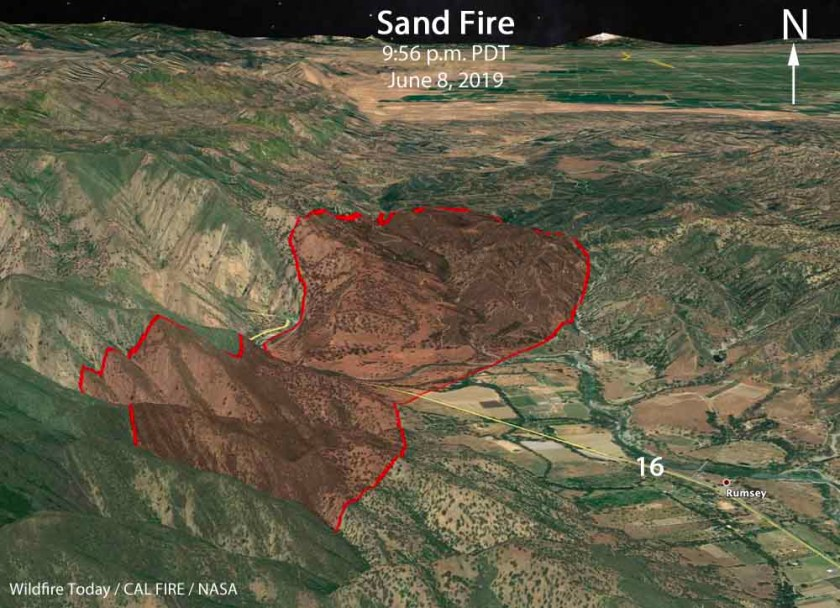 3-D map Sand Fire Yolo County California