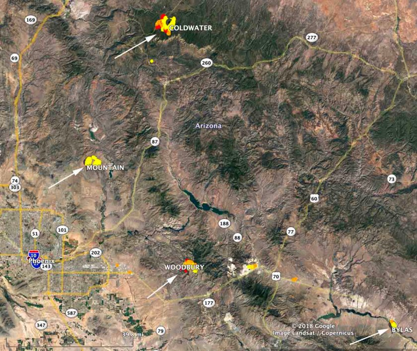 map wildfires Arizona June 11 2019