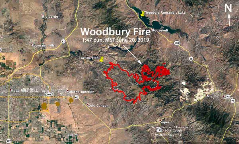 Woodbury Fire wildfire map June 20 2019