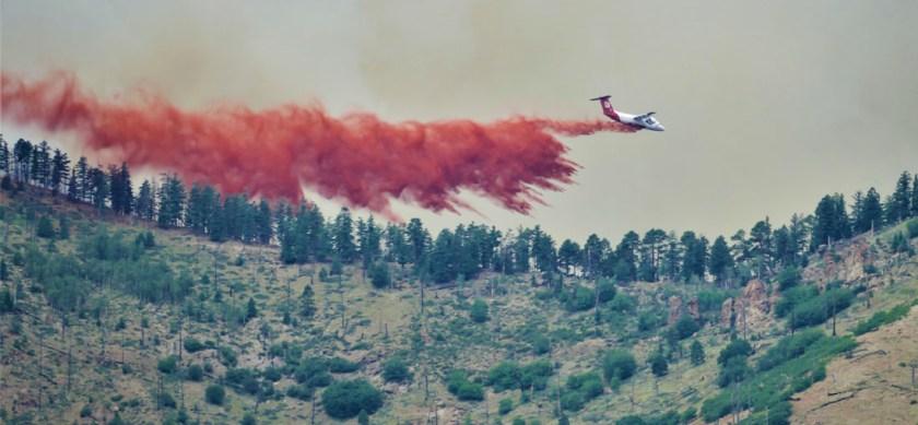 air tanker drop bae-146 Museum Fire Flagstaff Arizona