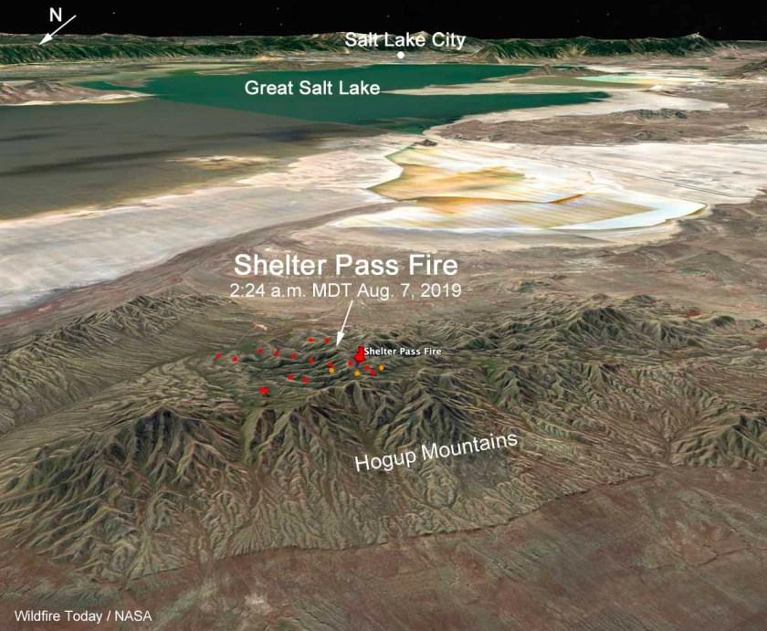 3-D map Shelter Pass Fire Great Salt Lake