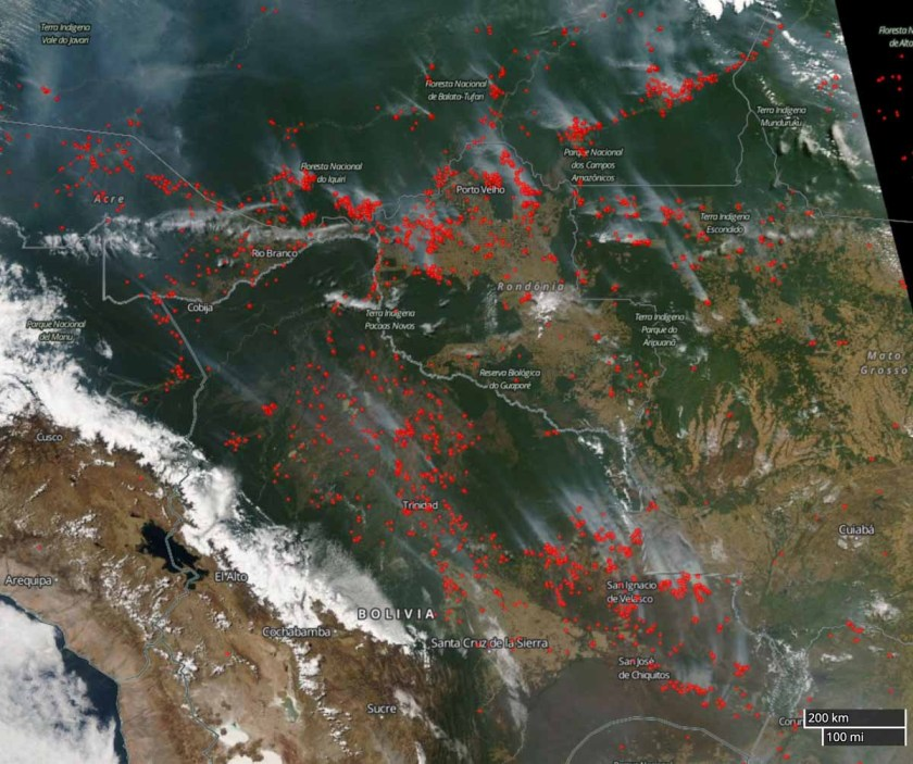 fires wildfires Brazil Bolivia