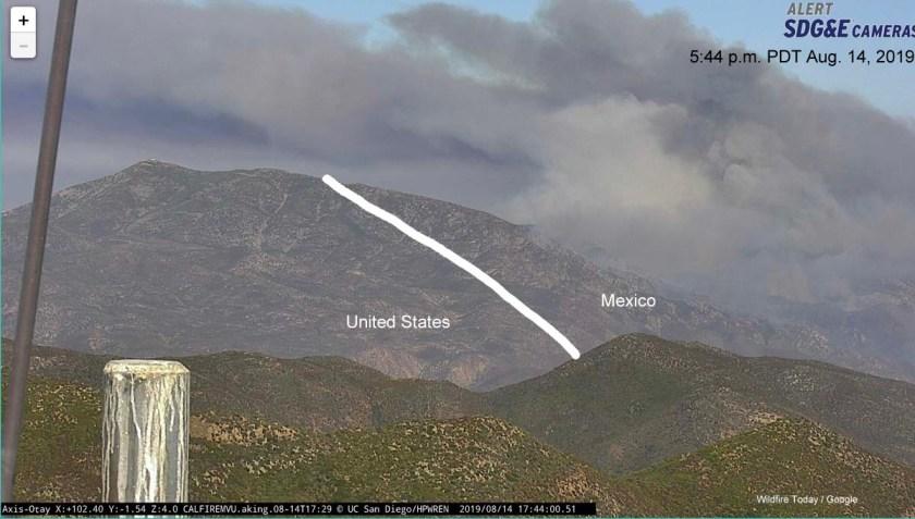 Border Fire Mexico United States California