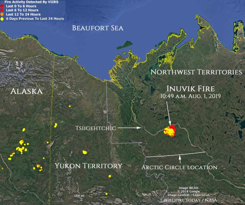 Map location Inuvik Fire Northwest Canada