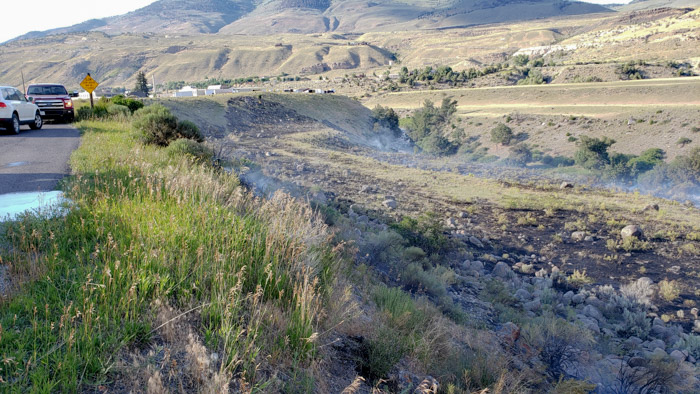 wildfire near North Entrance to Yellowstone National Park