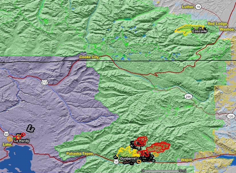 Map of the Gunbarrel Fire