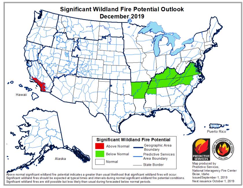 December 2019 wildfire outlook