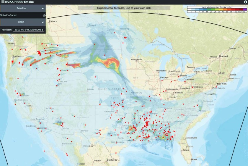 Smoke from wildfires in the Northwest spreads to the east