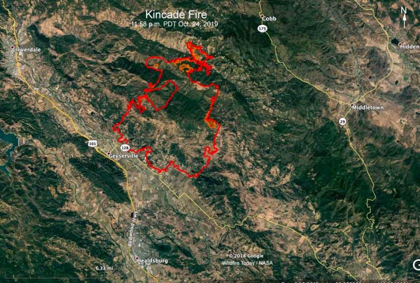 map Kincade Fire 11:58 p.m. October 24, 2019