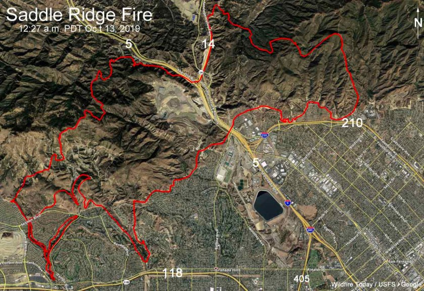 Map Saddle Ridge Fire