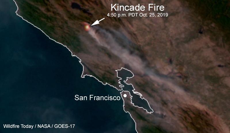 Satellite photo smoke Kincade Fire