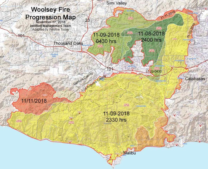 Progression map Woolsey Fire