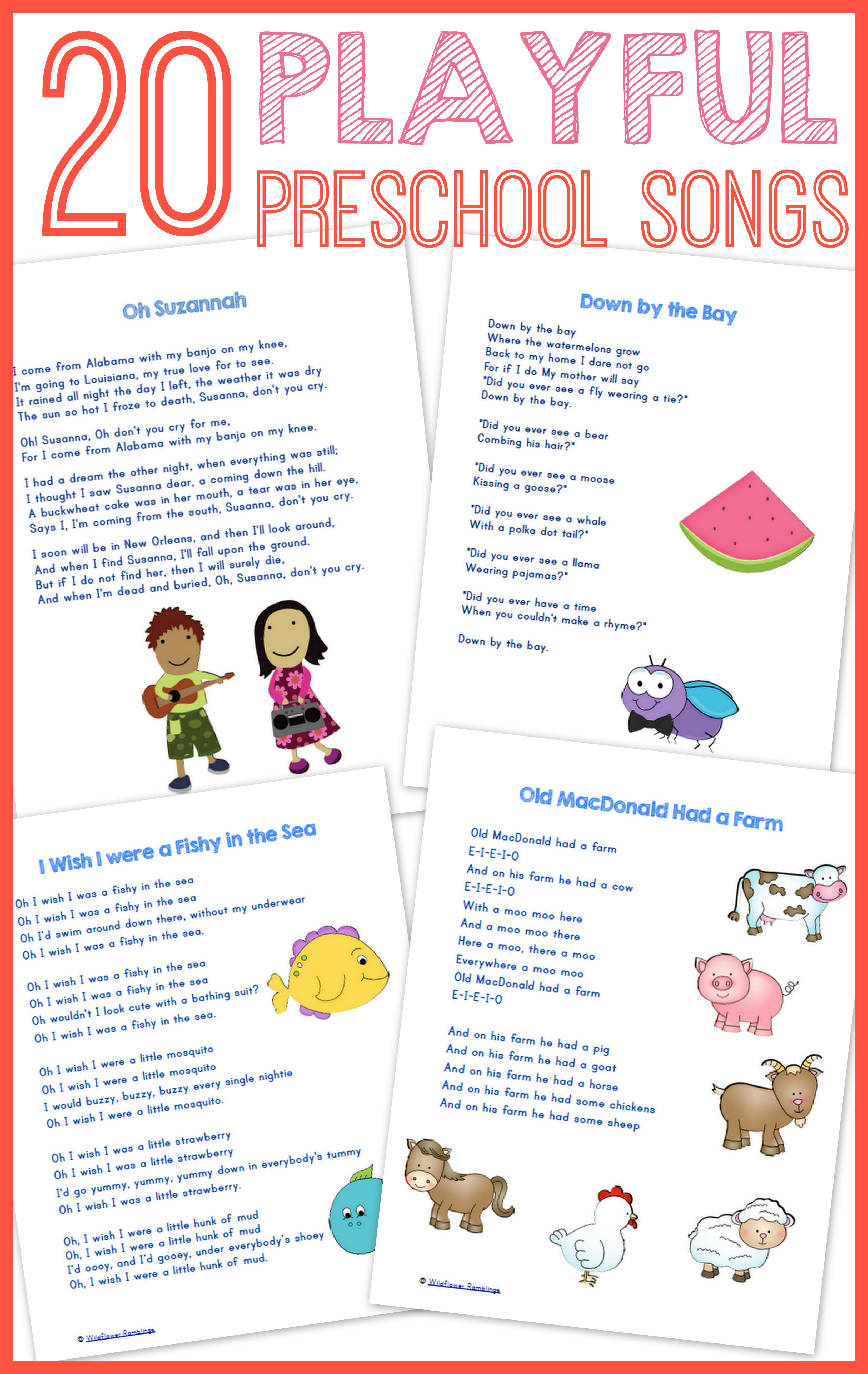 20 Best Preschool Songs Free Printable