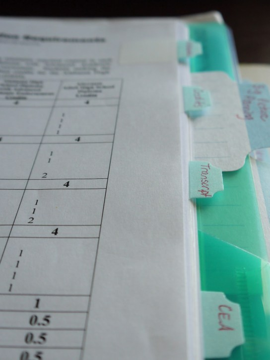 This is a portion of the high school notebook with sections for keeping track of credits and transcript information.